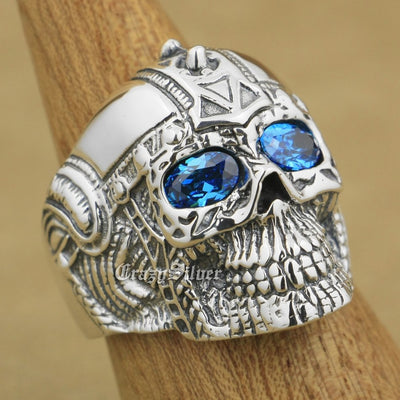 Ragnar Viking Warrior Skull Blue CZ Eyes 925 Sterling Silver Ring Sizes 7-14 Unisex