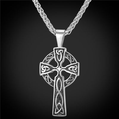 "Norse Cross Pendant Stainless Steel Platinum Or Gold 20"" Chain"