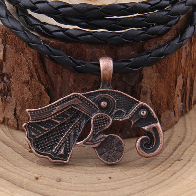 Viking/Norse Raven Gold, Silver or Bronze Pendant with Cord or Chain 50 cm Unisex