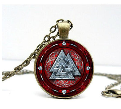 "Viking/Norse Valknut Red & Silver or Gold Zinc Pendant 21.6"" Necklace"