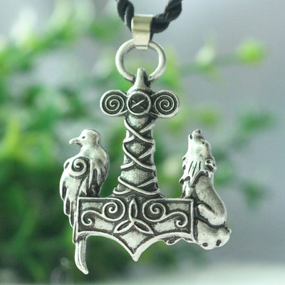 Wolf and raven pendant viking wolf necklace ancient raven bird pendant jewelry - Viking Jewelry Life