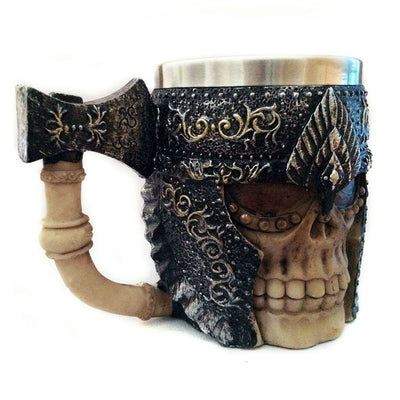 Stainless Steel Viking Warrior Skull Mug Home Decor