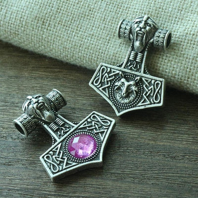 "Thor's Hammer Red or Purple Bead on Bronze or Silver Zinc 18"" Cord Necklace Unisex"