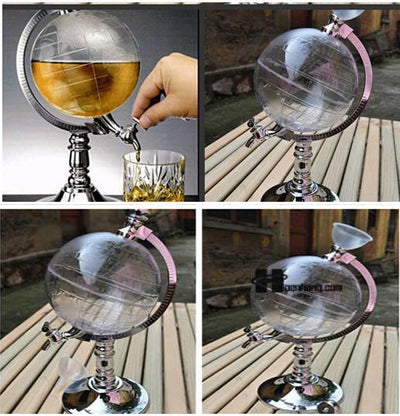 Globe-Shaped Clear ABS Plastic 50 oz  Beverage Tap Decanter Home Decor