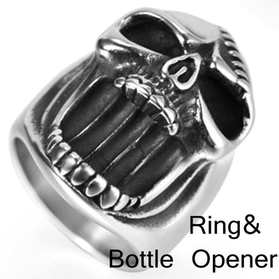 Skull Ring/ Bottle Opener Sizes 7-16 Stainless Steel Silver Unisex