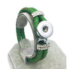 Braided Green Leather 18mm Snap Button Bracelet