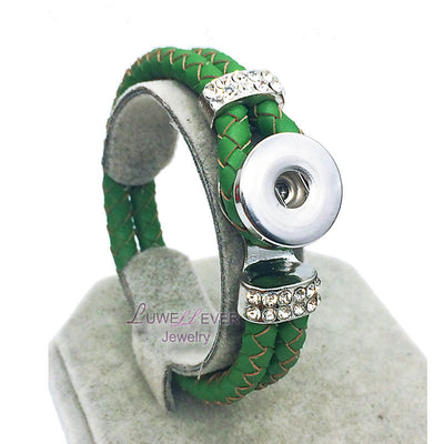 Genuine Braided Green Leather 18mm Snap Button Rhinestone Bracelet Snap Button Jewelry Unisex