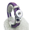 Braided Purple Leather 18mm Snap Button Bracelet