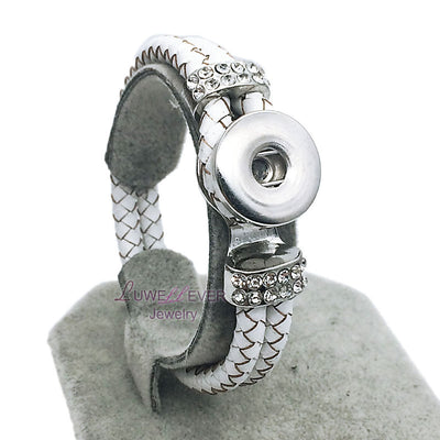 Genuine White Leather 18 mm Snap Button Rhinestone Bracelet  Snap Button Jewelry Unisex
