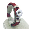 Genuine Braided Deep Red Leather 18mm Snap Button Rhinestone Bracelet Snap Button Jewelry Unisex