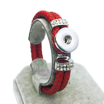 Braided Red Leather 18 mm Snap Rhinestone Snap Button Jewelry Unisex
