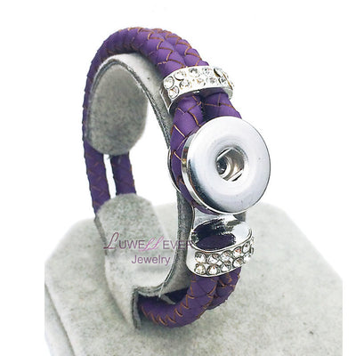 Genuine Braided Purple Leather 18mm Snap Button Rhinestone Bracelet Snap Button Jewelry Unisex