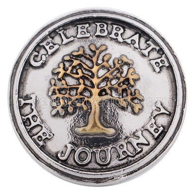 World Tree Life 18-20 mm Snap Button Silver-Tone Zinc 2 Designs Unisex