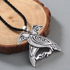 "Odin's Ravens Pendant  Silver Stainless Steel Necklace w/ 18"" Cord Unisex"