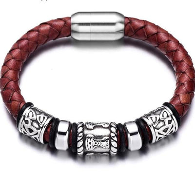 "Braided Or Smooth Leather Bracelet 7 Styles Stainless Steel Magnetic 6.69 to 8.26"" Unisex"