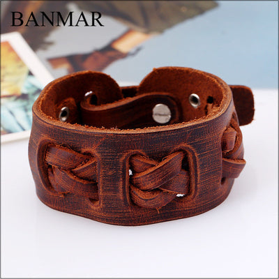 Viking/ Norse Hand Crafted Braided Leather Wide Black Or Brown Bracelet 7.08""