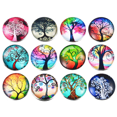 Stylistic World Tree Set of 12 Glass 18 mm Snap Buttons Fits Snap Jewelry Unisex