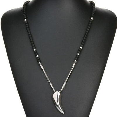 "Wolf Tooth Silver Stainless Steel Silver Pendant Black Stone 25"" Necklace Unisex"