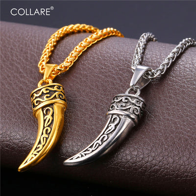 Viking Steel Wolf Fang Unisex Necklace Pendant!  In Both Gold And Steel Colors! - Viking Jewelry Life
