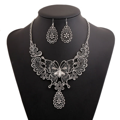 "Lacy Butterfly Choker Gold or Silver Alloy 16-18"" Necklace & Earrings Set"