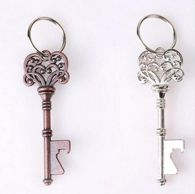 Antique Ornate Key Metal Key Chain & Bottle Opener Copper or Silver-Tone Unisex Key Chain