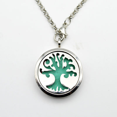 "World Tree Aromatherapy Zinc/Steel Silver Pendant 18"" Necklace Unisex"