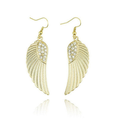 Angel Wings Dangle Pierce Earrings with Rhinestone Accents Choice of Silver-Tone or Gold-Tone Alloy Women Unisex