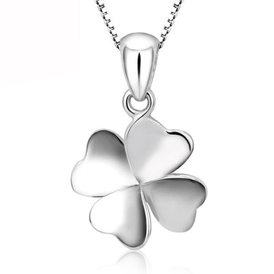 "Four-Leaf Clover Stainless Steel Silver Pendant 18"" Chain Necklace Unisex"