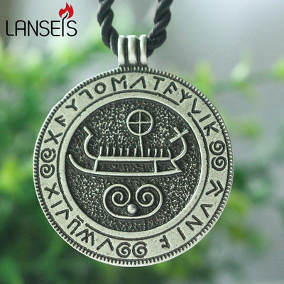 "Longboat With Runes Silver Zinc Pendant w/ 18"" Black Cord Necklace Unisex"