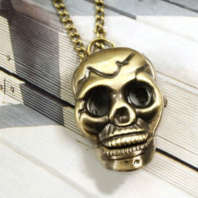 Viking /Norse Skull Bronze-Tone Zinc Hidden Pocket Watch 60 cm Necklace Unisex
