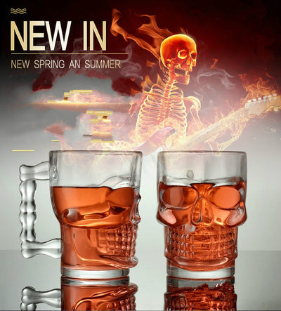 Skull Mug Clear Glass 4.9in (Holds 16.9oz) Home Decor