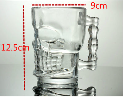 Skull Mug with Handle Clear Glass 4.9in (Holds 16.9oz) Home Decor