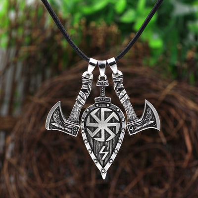 "Viking Shield & Ax Silver or Gold Zinc Pendant 20"" Cord Necklace"