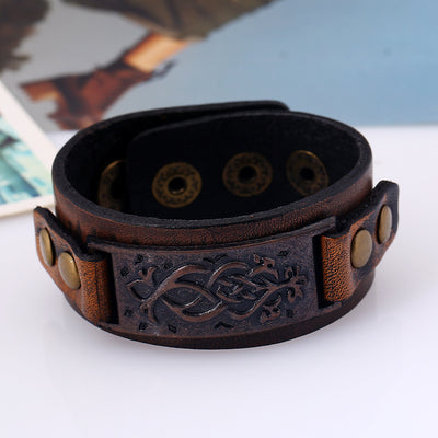 Vintage Bronze Tooled Leather & Zinc Cuff Bracelet Adjustable Snaps 22 cm