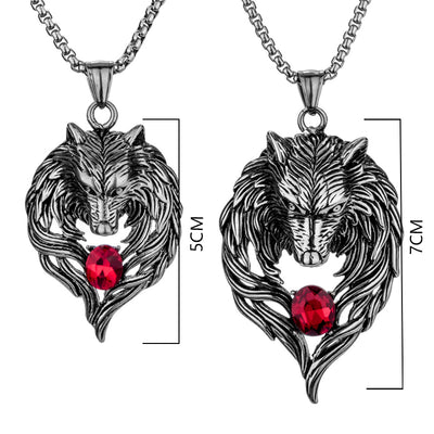 Norse 2 Wolf (L&S) Stainless Steel Stone Red Blue or Black Pendants & Chain 45-60 Unisex