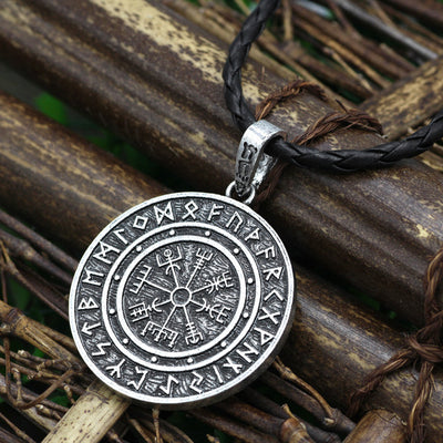 Odin Vegvisir Rune Silver Or Gold Zinc Pendant w/ Chain or Cord Unisex