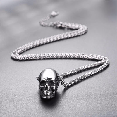 "Sterling Silver Skull in Silver, Gold or Black & 22"" Chain Necklace Unisex"