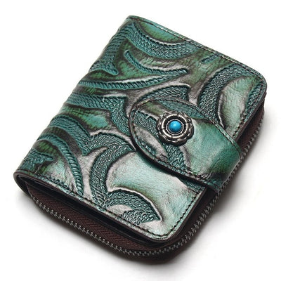 Green Tri-Fold Accordion Wallet With Flower Pattern Genuine Leather Unisex