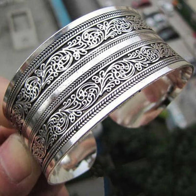 Viking/Norse Retro Cuff Wide Bracelet Made of Tibetan Silver Fits Most