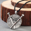 "Viking Shield Silver or Gold Zinc Pendant 18"" Rope Chain Men/Unisex"