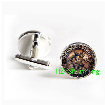 Viking Rustic Warrior Cufflinks Pair Copper in 5 Colors Men / Unisex