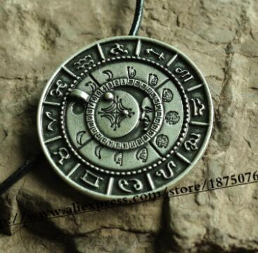 Norse Moon Phase Talisman Pendant Silver Or Gold Tone Zinc Cord 18