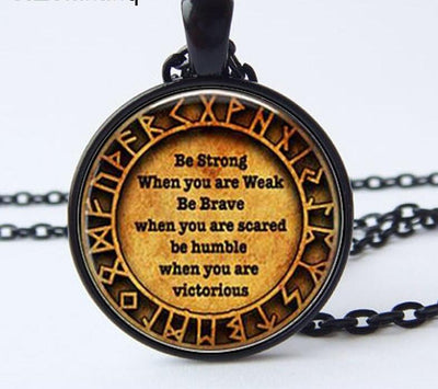 New Viking Quote Rune Zinc Necklace Silver-Black- Bronze-or Cooper-Tone Unisex