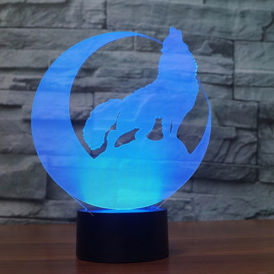 Viking 3D Wolf & Moon LED Lamp Changes 7 Colors USB (No Battery Required) Home Decor