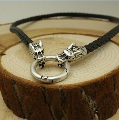 "Viking Bronze/Silver Circle Clasp Necklace Brown/ Black Cord or Steel Chain 19.6-27.6"" Unisex"