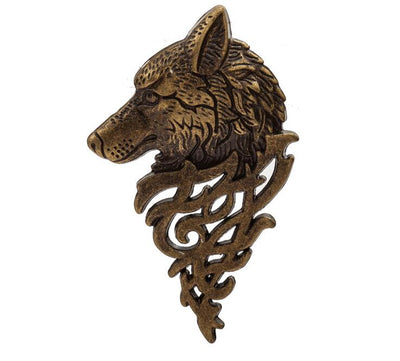 Viking/Norse Wolf 5.5 cm Zinc Lapel Pin Brooch  Gold-Tone Silver-Tone Or Bronze-Tone Unisex