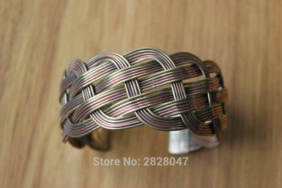 Viking/Norse Hand Crafted 3 Color Braided Copper Cuff Bangle Adjustable Unisex