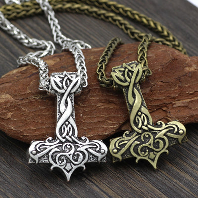 Ornate Viking Art  Large Thor Hammer Zinc Silver or Bronze w/ Chain or Leather Necklace
