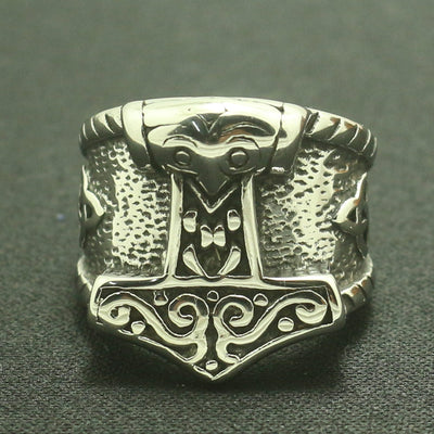 Viking Stainless Steel Thor's Hammer Silver 7-14 Ring
