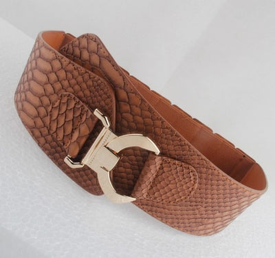 "Crocodile Faux Leather Stretch Belt Fits 30""-38"" Black or Tan w/ Golden Buckle"
